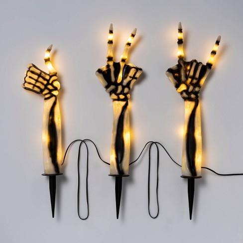 3ct LED Lighted Skeleton Hands Halloween Novelty Path Lights White - Hyde & EEK! Boutique™ - image 1 of 3