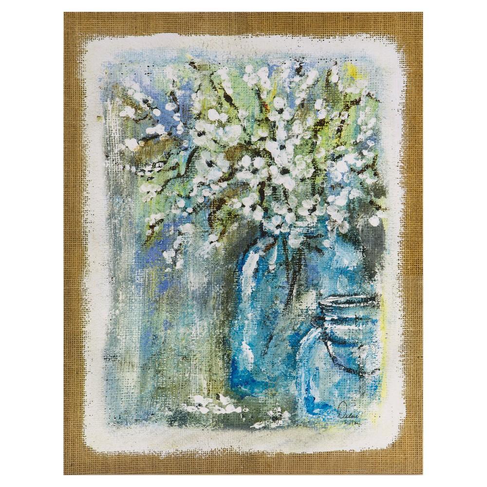 Burlap Blossoms Gel Coat Canvas 2 Piece Set, Blue