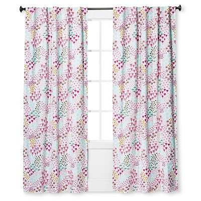Twill Blackout Floral Print Curtain Panel Apricot Ice (42 x84 )- Pillowfort™