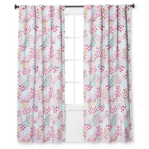 Twill Blackout Floral Print Curtain Panel Apricot Ice