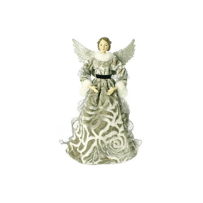 "Raz Imports 19"" Greenish Gray Glittered Faux Fur Trim Angel Christmas Table Top Figure - image 1 of 1"