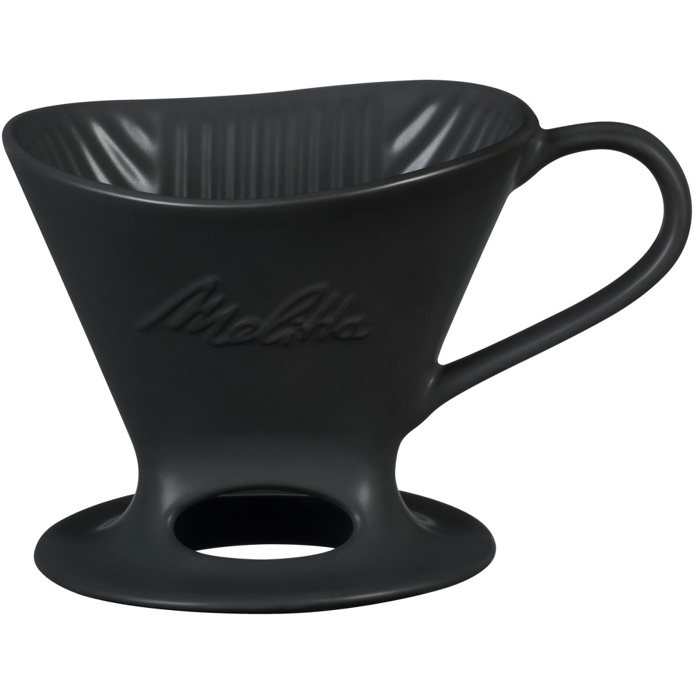 Image of Melitta 1 Cup Porcelain Pour-Over Cone Coffee Maker - Black