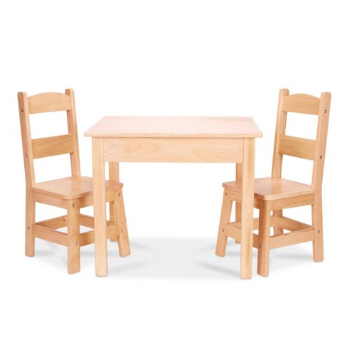 Melissa & Doug Solid Wood Table and 2 Chairs Set - Light Finish Furniture for Playroom - image 1 of 4