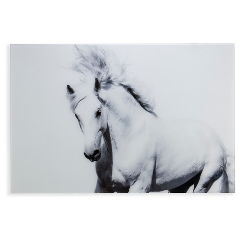 White Horse Ii Glass Wall Art Black And White Aiden Lane