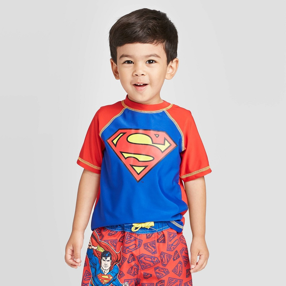Image of Toddler Boys' Superman Rash guard - Red 2T, Boy's, MultiColored