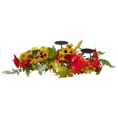 "Northlight 28"" Yellow Sunflower and Red Leaves Fall Harvest Candle Holder"