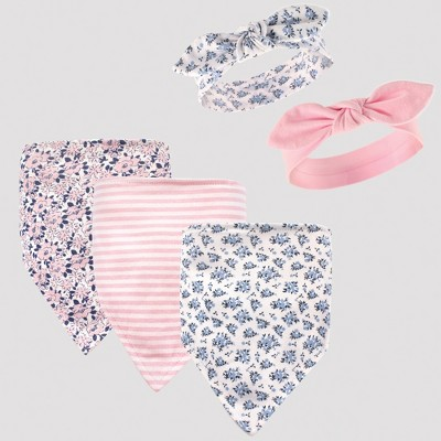 Hudson Baby Girls' 5pc Bandana Bib and Headband Set, Prairie Flowers - Pink 0-12M