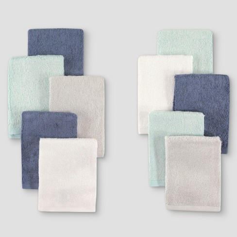 Hudson Baby Boys' 10pk Rayon from Bamboo Washcloths - Blue/Teal One Size - image 1 of 1