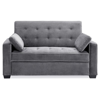 Ainsley Convertible Sofa Full Charcoal Gray Serta