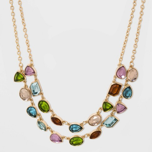 Two Row with Mixed Stone Necklace - A New Day™ - image 1 of 3