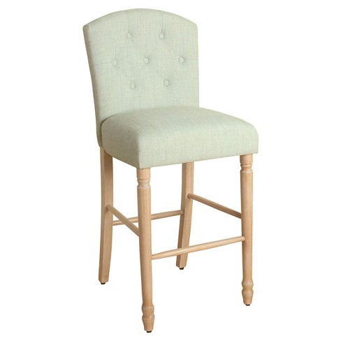 """29"""" Delilah Button Tufted Bar Stool - Pale Blue - HomePop - image 1 of 3"""