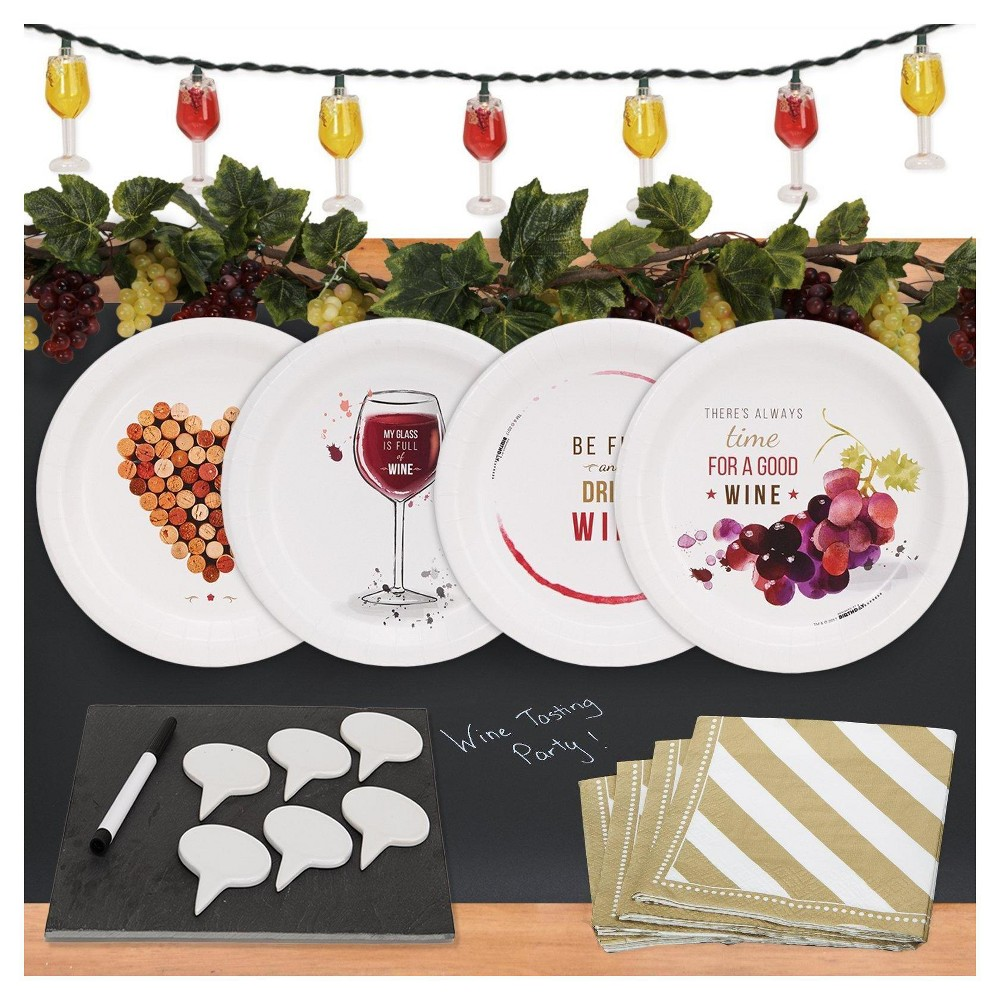 32ct Wine Party Appetizer Pack with Chalkboard Runner Cheese Board & Décor Wine Kit Includes: (16) beverage napkins, (8 each) of 4 styles of wine cocktail plates, (1) chalkboard table runner, (1) string of wine glass lights, (2) strings of Grape Garland, (1) Slate Cheese Board with Tags and Erasable Marker Color: Multi-Colored. Gender: Unisex.