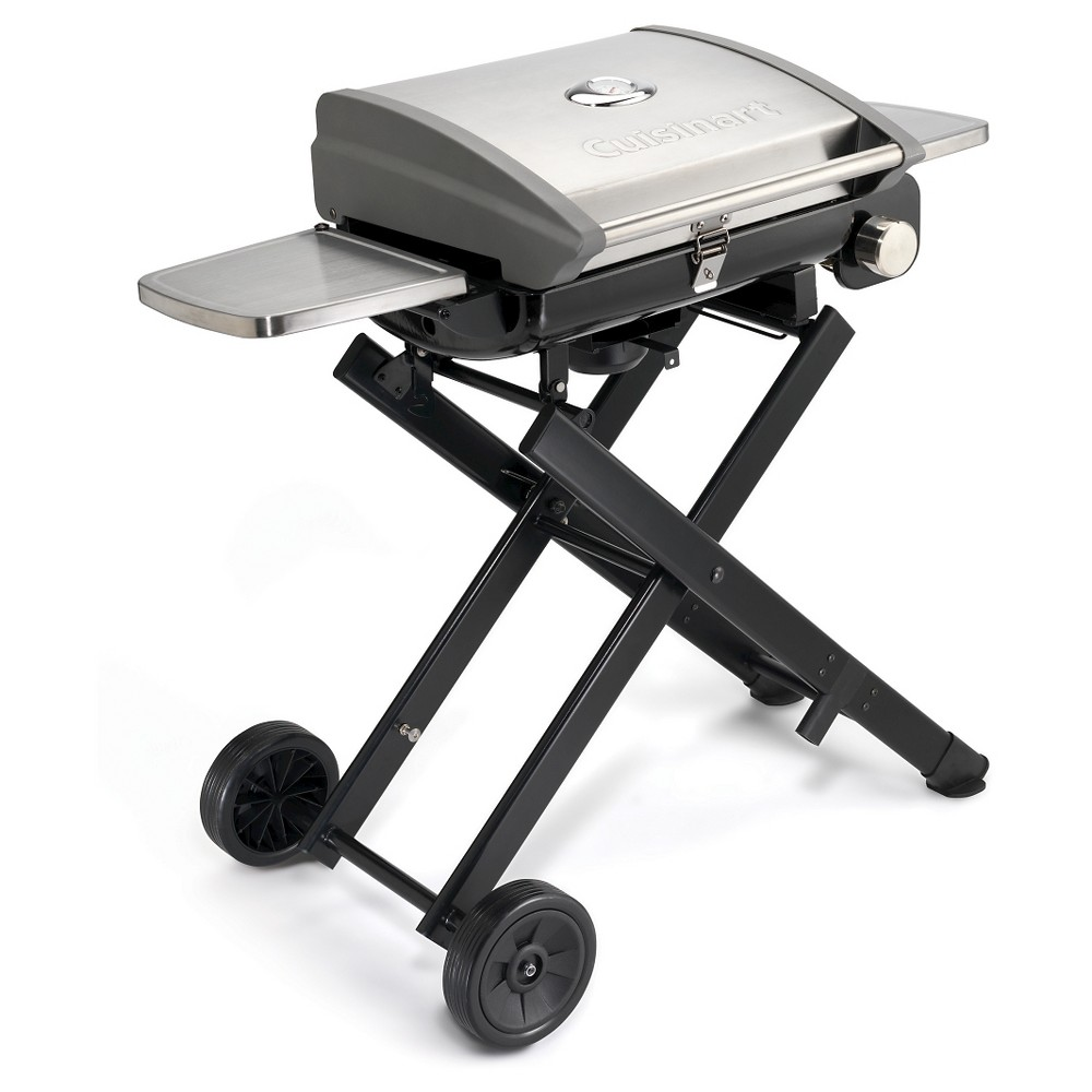 Cuisinart All Foods Roll Away Gas Grill Model Cgg-240 - Silver Portable grilling has never been easier than it is with the All Foods Roll-Away Gas Grill from Cuisinart. This grill offers both convenience and portability in one compact package for the ultimate grill wherever you go. You have 15,000 BTUs and a porcelain-coated cast-iron cooking grate for perfectly grilled foods every time. Monitor your foods with the built-in temperature gauge and cook up enough for a crowd with 240 square inches of cooking surface. Color: Silver.