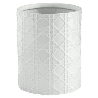 Wicker Wastebasket White - Cassadecor