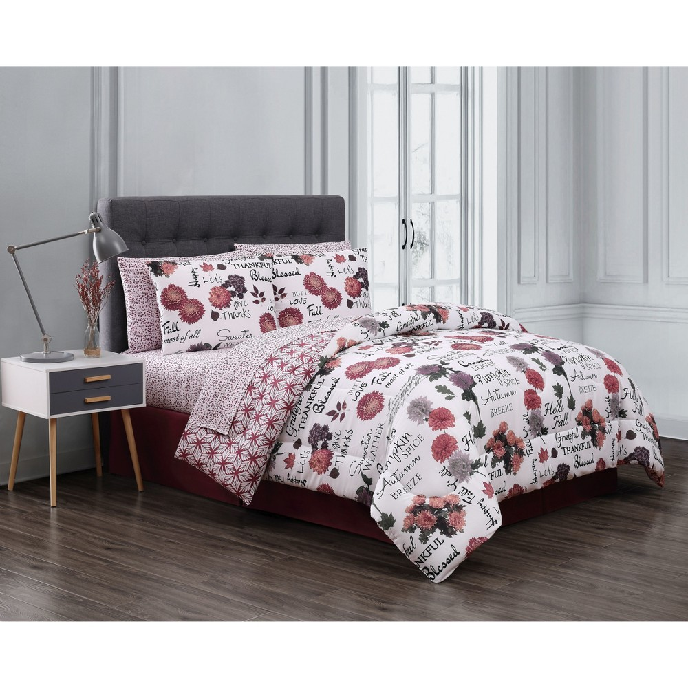 8pc Queen Maze Daze Comforter Set Rust (Red) - Geneva Home Fashion
