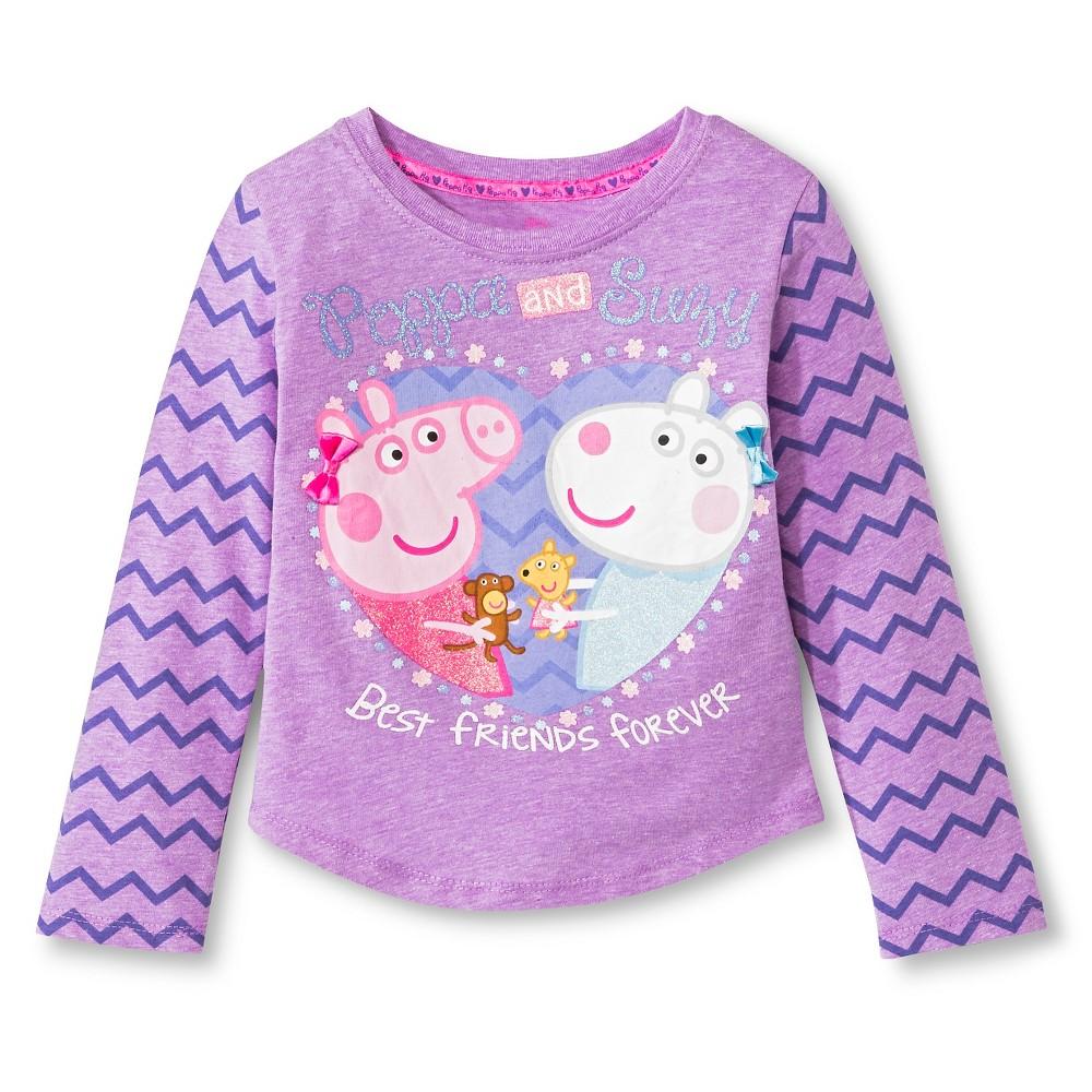 Toddler Girls' Peppa Pig Long Sleeve T-Shirt Purple 5T