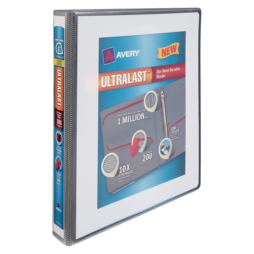 "Image of ""Avery 1"""" Clear View 3 Ring Binder with One Touch Slant Ring White"""