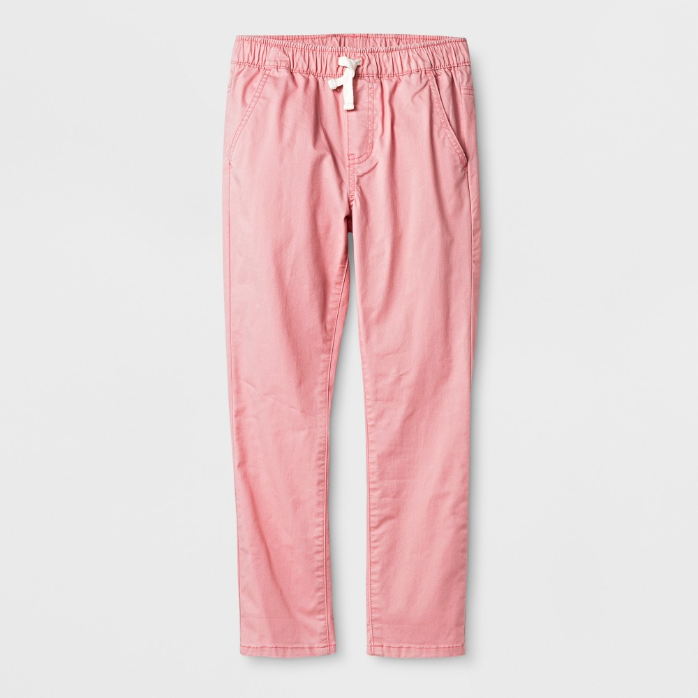 Boys' Chino Pull-On Twill Pants - Cat & Jack Pink 14 Husky