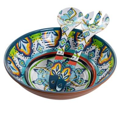 3pc Melamine Spanish Terrace Salad Bowl Set with Servers - Elama