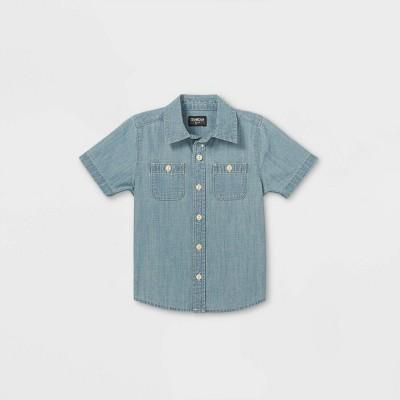 OshKosh B'gosh Toddler Boys' Chambray Woven Short Sleeve Button-Down Shirt - Blue