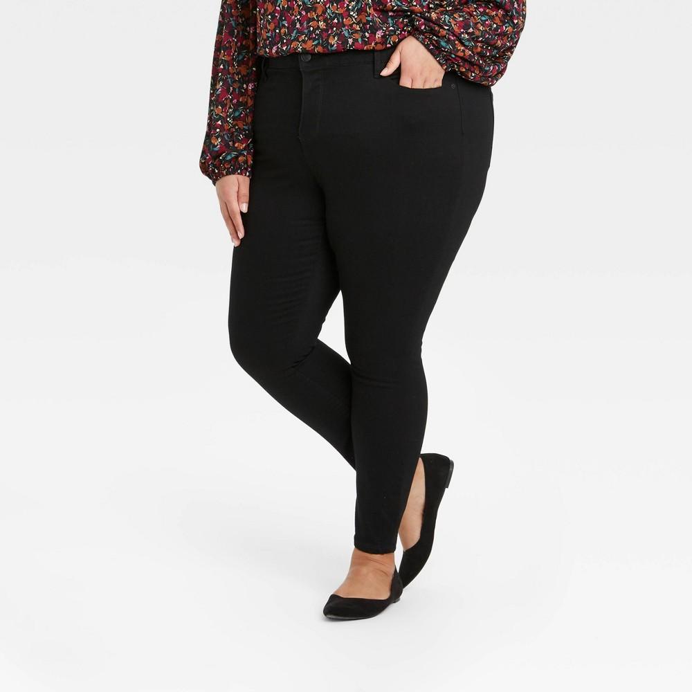Women 39 S Plus Size Mid Rise Skinny Jeans Ava 38 Viv 8482 Black 18w