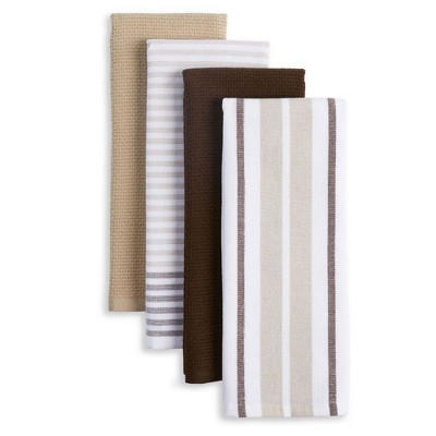 4pk Bistro Kitchen Towels Brown/White/Gray - Town & Country Living