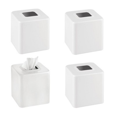 mDesign Modern Square Metal Paper Facial Tissue Box Cover Holder - 4 Pack