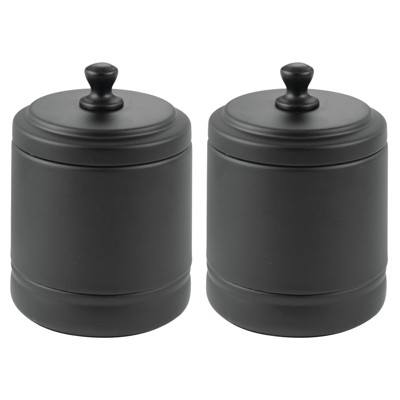 mDesign Metal Bathroom Vanity Storage Organizer Canister Jar, 2 Pack