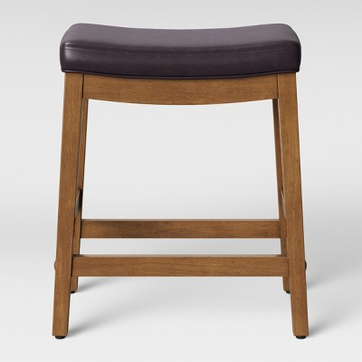 Belvidere Faux Leather Saddle Counter Stool Espresso Faux Leather - Threshold™