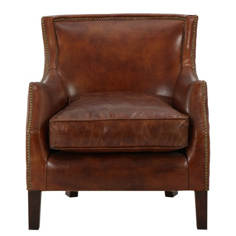 Njord Vintage Leather Club Chair Light Brown Christopher Knight Home