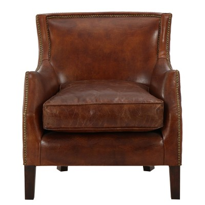 Superbe Njord Vintage Leather Club Chair   Light Brown   Christopher Knight Home