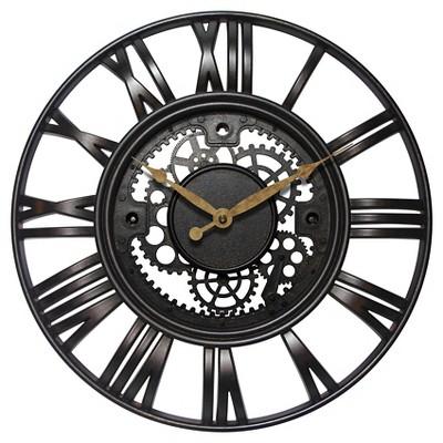 Roman Gear Decorative Wall Clock Bronze/Black - Infinity Instruments®