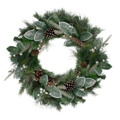 Northlight Frosted White Berry Mixed Pine and Glitter Artificial Christmas Wreath - 24-Inch, Unlit