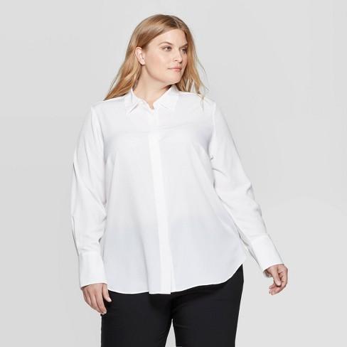 ea813b8c50de68 Women's Plus Size Long Sleeve Collared Button-Down Blouse - Prologue™ White  X : Target