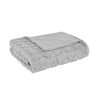 Kylie Oversized Quilted Textured Plush Blanket (Full/Queen)Gray