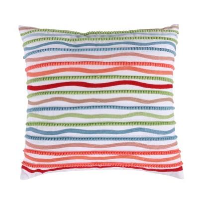 Simone Floral Pom Stripe Decorative Pillow - Levtex Home