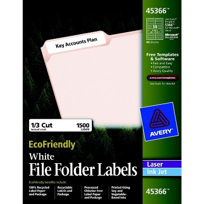 Avery Eco-Friendly File Folder Labels, 2/3 x 3-7/16 Inches, White, pk of 1500 Labels