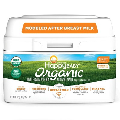HappyBaby Organic Infant Formula with Iron Milk Based Powder - 21oz