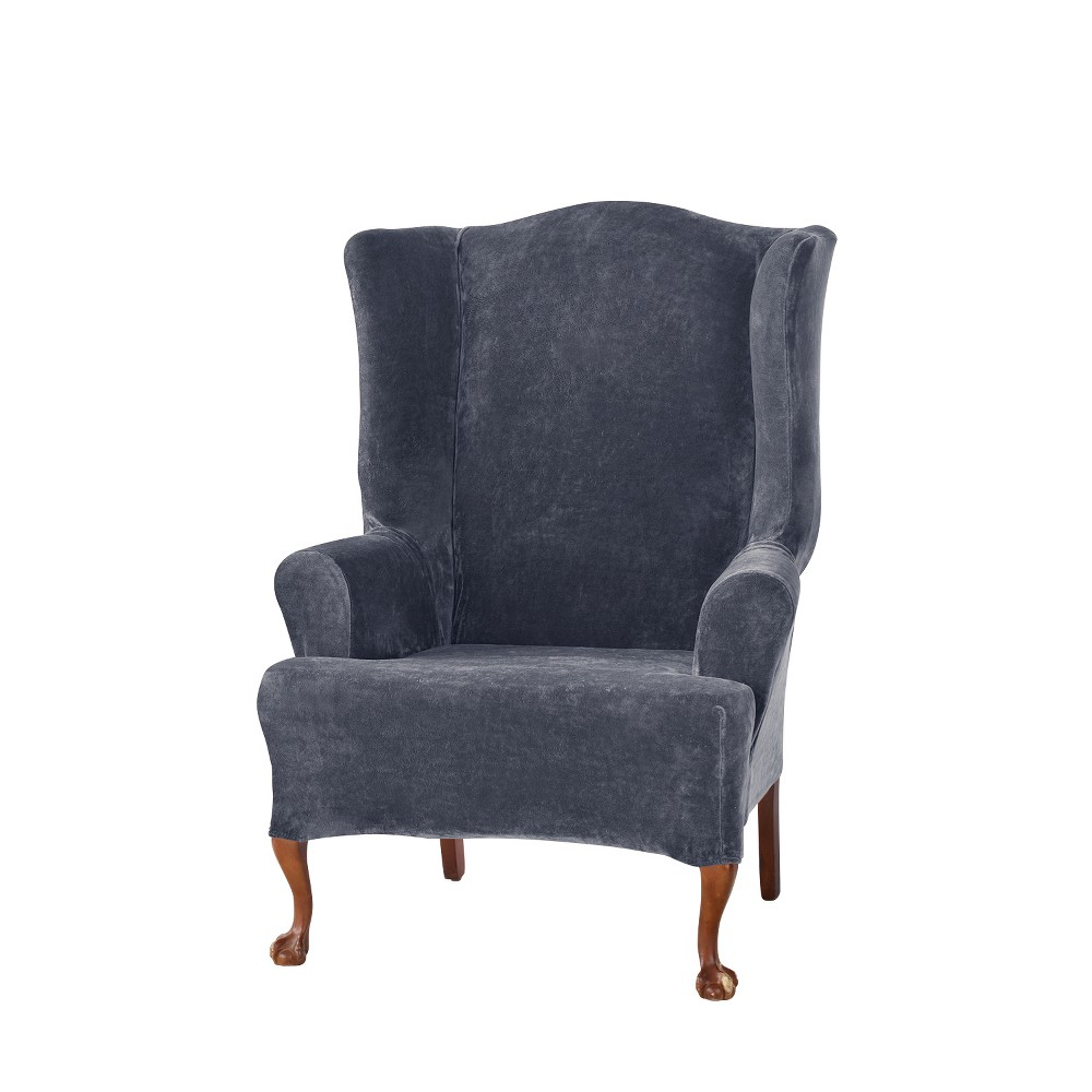 Stretch Plush Wing Chair Slipcover Storm Blue - Sure Fit