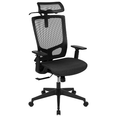 Flash Furniture Ergonomic Mesh Office Chair with Synchro-Tilt, Pivot Adjustable Headrest, Lumbar Support, Coat Hanger and Adjustable Arms