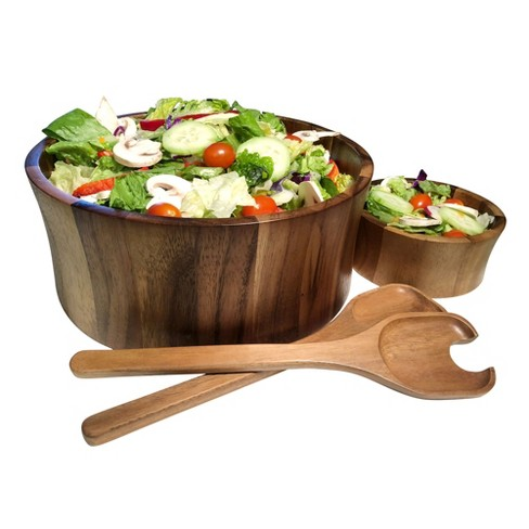 Kalmar Home 328b 3 Large Acacia Wood Salad Serving Bowls With Servers Brown