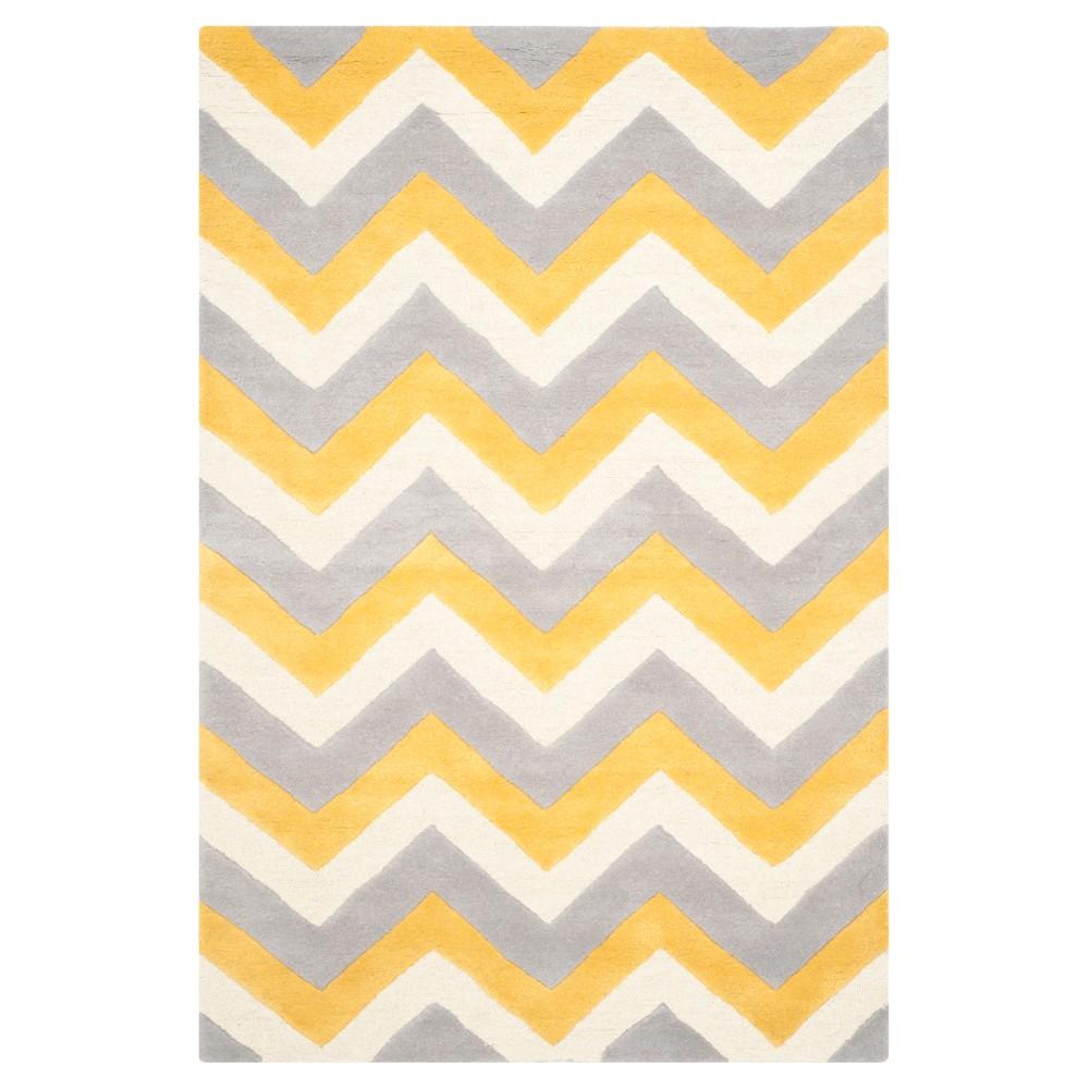 Ariele Texture Wool Rug - Gray / Gold (5' X 8') - Safavieh