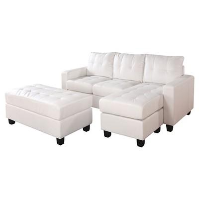 3pc Acme Lyssa Reversible Sectional Sofa White - Acme Furniture
