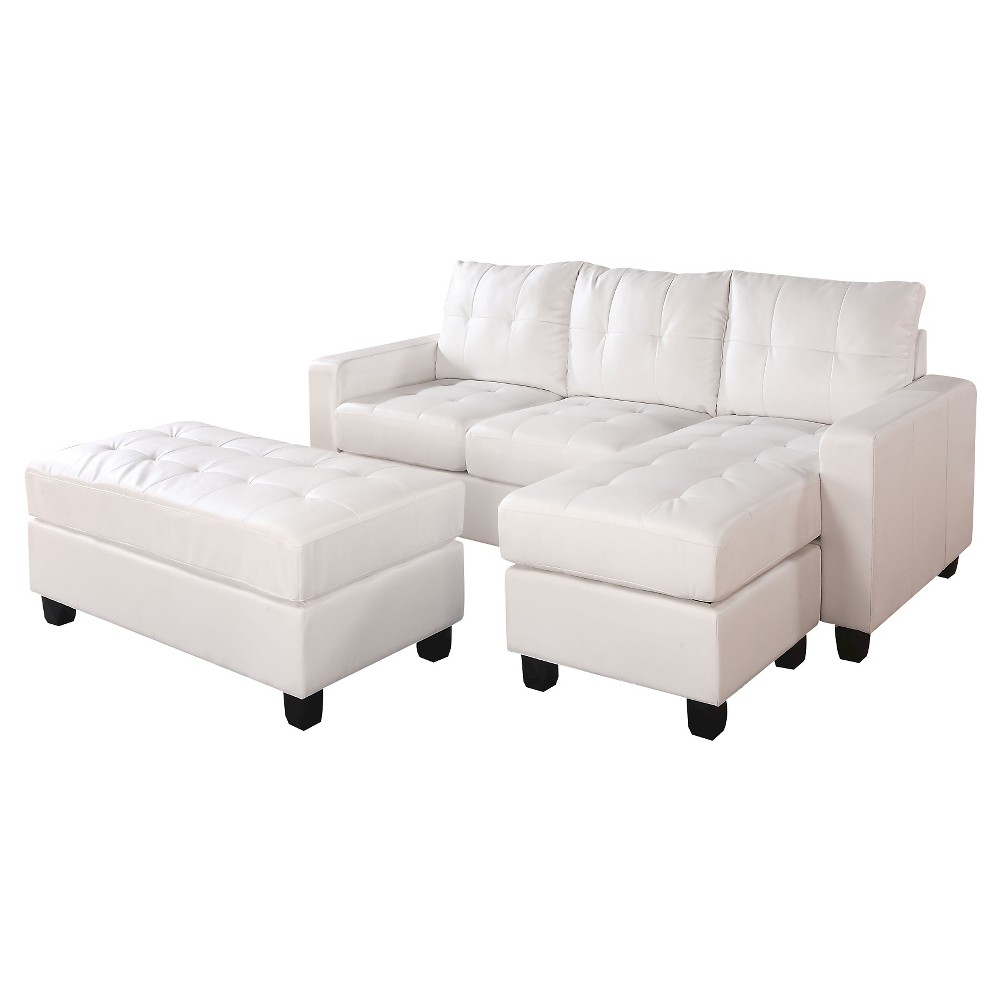 Image of 3pc Acme Lyssa Reversible Sectional Sofa White - Acme Furniture