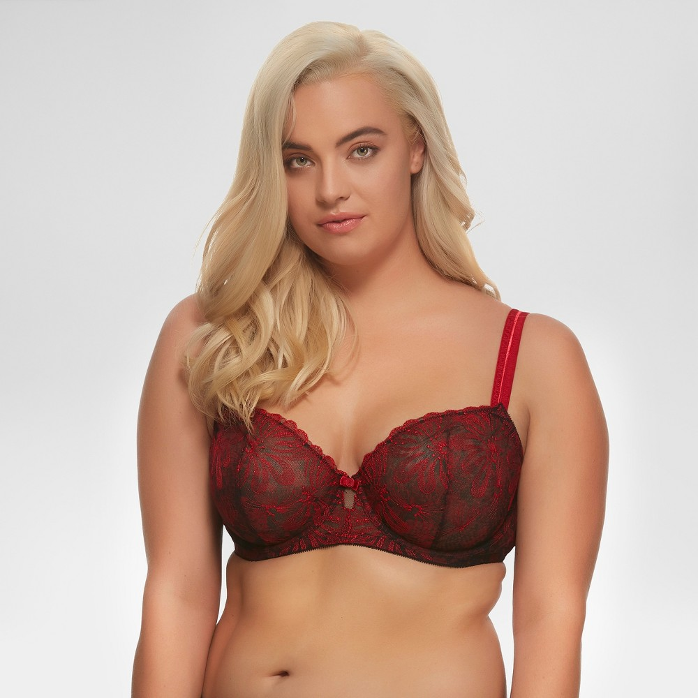 Paramour Women's Floral Ellie Unlined Bra - Red 36DDD