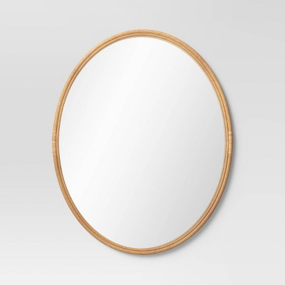 "21"" x 26.5"" Oval Rattan Wall Mirror Natural - Opalhouse™"