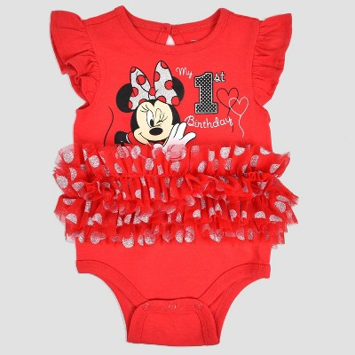 Baby Girls' Disney Mickey Mouse & Friends Minnie Mouse Birthday Bodysuit - Red 0-3M