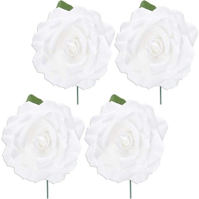 4 Pack Artificial Fake Silk Rose Flower Heads for Wedding Decoration, Bridal Bouquet, Home Decor - White