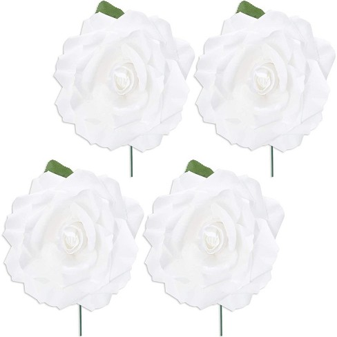 4 Pack Artificial Fake Silk Rose Flower Heads For Wedding Decoration Bridal Bouquet Home Decor White Target