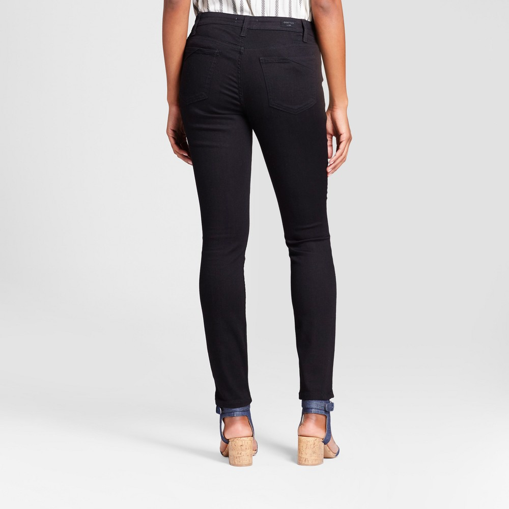 Women's Curvy Fit Skinny Jeans - Crafted by Lee Black 0 Long
